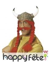 Casque avec tresses rousses et moustache, adulte