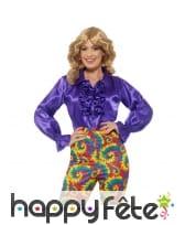 Chemise à volants violets, satinée pour femme