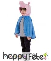 Cape bleue avec tête de cochon, pour enfant