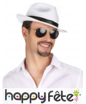 Chapeau blanc avec ruban noir, pour adulte, image 1