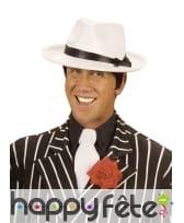 Chapeau blanc avec ruban noir, pour adulte, image 2