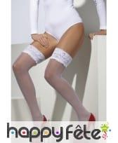 Collants blanc avec dentelles blanches