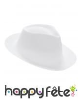Chapeau borsalino blanc uni pour adulte, image 1