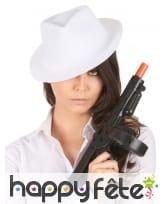 Chapeau borsalino blanc uni pour adulte, image 2