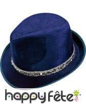 Chapeau borsalino bleu en velours