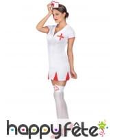 Combinaison blanche courte d'infirmière sexy, image 1