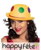Chapeau boule de clown jaune à pois colorés