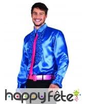 Chemise bleu disco ruche pour homme