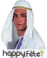 Coiffe blanche de prince arabe avec galon doré