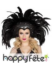 Coiffe brésilienne de plumes noires