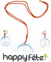 Collier, boucles d'oreilles peace and love argent