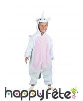 Combinaison blanche de licorne pour enfant