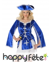 Costume bleu de femme mousquetaire, image 1