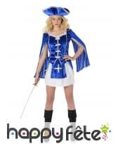 Costume bleu de femme mousquetaire