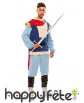 Costume bleu de prince charmant avec cape rouge, image 1