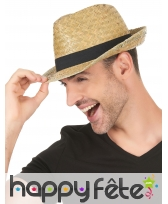 Chapeau borsalino en paille avec ruban noir, image 2