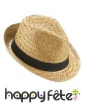Chapeau borsalino en paille avec ruban noir