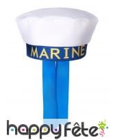 Chapeau blanc imprimé marin sur fond bleu, image 1