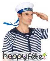 Chapeau blanc imprimé marin sur fond bleu, image 2