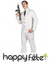 Costume blanc ligné noir de gangster pour homme, image 1