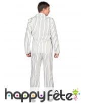 Costume blanc ligné noir de gangster pour homme, image 2