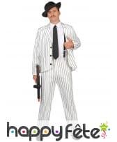 Costume blanc ligné noir de gangster pour homme