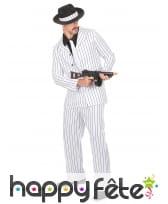 Costume blanc ligné noir de mafioso, image 1