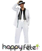 Costume blanc ligné noir de mafioso, image 3