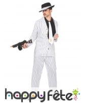 Costume blanc ligné noir de mafioso