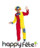 Costume bicolore rouge et jaune de clown