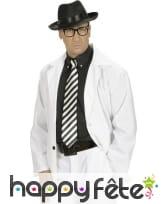 Cravate blanche rayures obliques