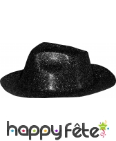Chapeau capone avec paillettes noir