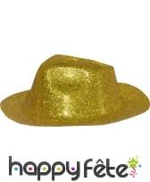 Chapeau capone avec paillettes or