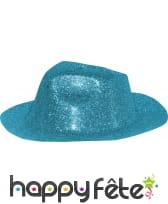 Chapeau capone avec paillettes turquoise