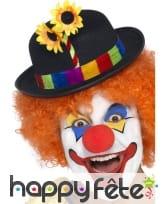Chapeau clown avec fleurs