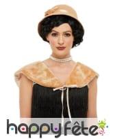 Chapeau crème années 20 avec étole, image 1