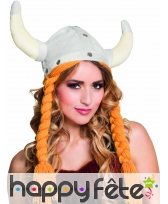 Chapeau cornes de viking avec tresses