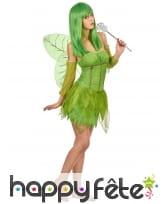 Costume court de fée verte pour femme