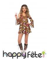 Costume court hippie fleurie colorée