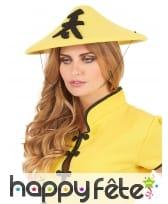 Chapeau chinois jaune en feutrine, image 2