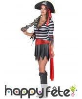 Costume court ligné noir et blanc de femme pirate, image 1