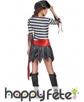 Costume court ligné noir et blanc de femme pirate, image 2