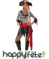 Costume court ligné noir et blanc de femme pirate, image 3