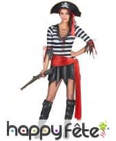 Costume court ligné noir et blanc de femme pirate