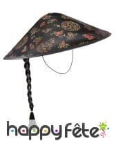 Chapeau chinois noir avec motifs et tresse noire, image 1