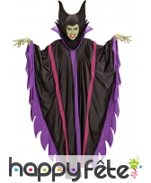 Costume cape noire violet de sorcière démoniaque