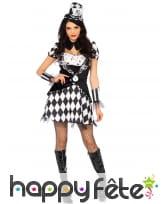 Costume chapelière noir et blanc damier femme