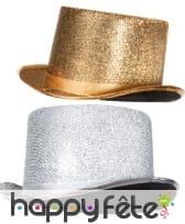 Chapeau cylindre paillettes argent