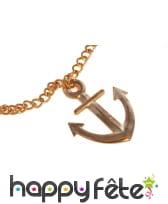 Collier doré avec pendentif ancre de marin, image 1
