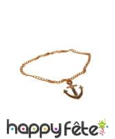 Collier doré avec pendentif ancre de marin